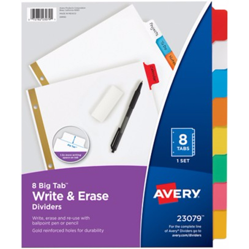 Avery 8-tab Multicolor Big Tab Write-On Dividers (AVE-23079) - $1.67 Image 1