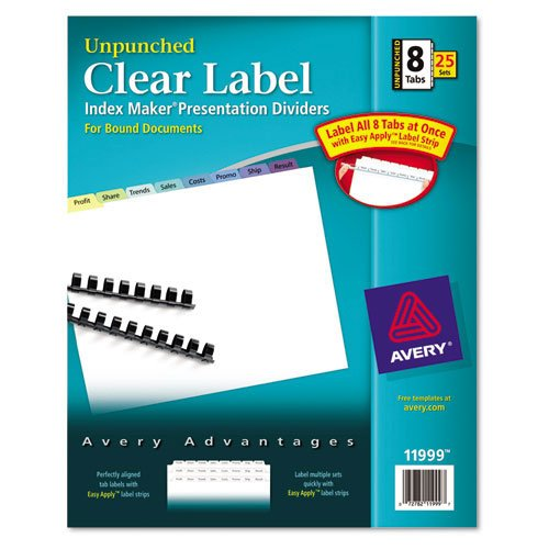 Avery 8-Tab Multicolor Clear Label Unpunched Dividers 25pk (AVE-11999) Image 1