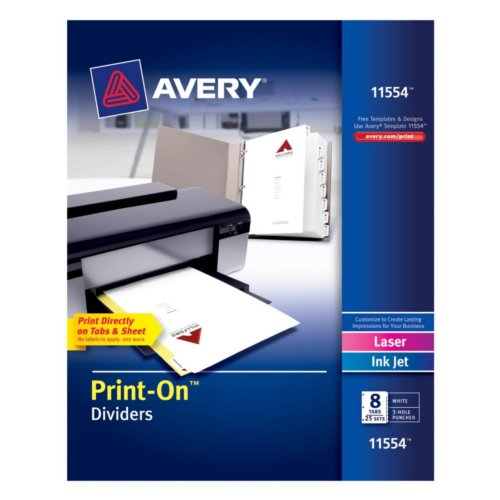 Avery 8-Tab Print-On Dividers with White Tabs 25 sets (AVE-11554) Image 1