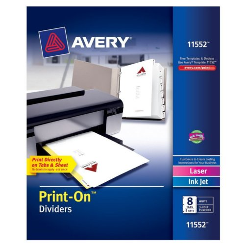 Avery 8-Tab Print-On Dividers with White Tabs 5 sets (AVE-11552) Image 1