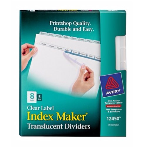 """Avery 8-tab Translucent 11"""" x 8.5"""" Translucent Dividers 5pk (AVE-12450), Index Tab Dividers Image 1"""