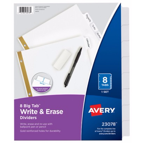Avery 8-tab White Big Tab Write-On Dividers (AVE-23078) - $2.03 Image 1