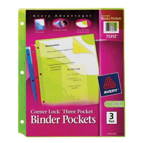 Avery Assorted 3-Hole Punched Corner Lock Three Pocket Binder Pockets 3pk (AVE-75312)