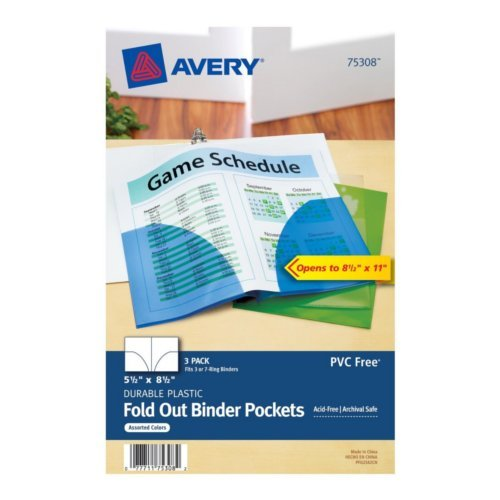 "Avery Assorted 7-Hole Punched Mini Plastic Fold Out Binder Pockets for 5.5"" x 8.5"" Binders 3pk (AVE-75308), Ring Binders Image 1"