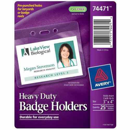 "Avery Badge Holder Horizontal Holds Insert Cards Up To 3"" x 4"" 25pk (AVE-74471) Image 1"