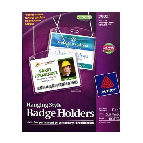 "Avery Badge Holder Neck Hanging - Landscape 3"" x 4"" 100pk (AVE-2922) Image 1"