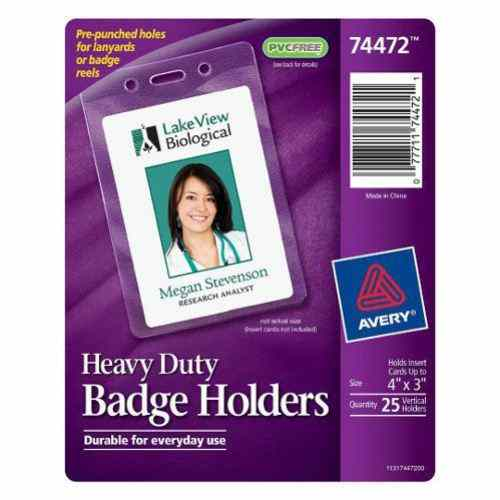 "Avery Badge Holder - Vertical Holds Insert Cards Up To 4"" x 3"" 25pk (AVE-74472) Image 1"