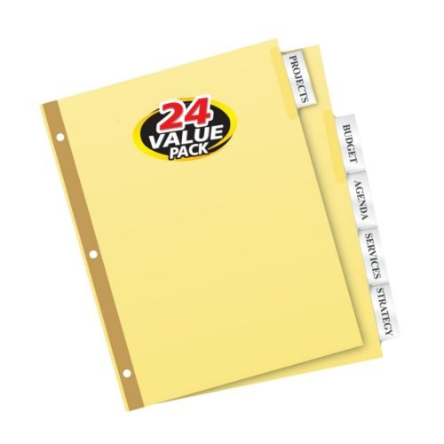 Avery Big Tab Clear 5-Tab Gold Reinforced Buff Insertable Dividers 24 sets (AVE-11113), Index Tabs Image 1