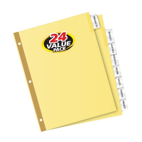 Avery Big Tab Clear 8-Tab Gold Reinforced Buff Insertable Dividers 24 sets (AVE-11115), Index Tabs Image 1