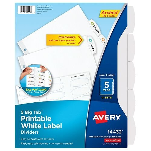 Avery Big Tab Easy Peel 5-Tab Printable White Label Dividers 4 sets (AVE-14432) Image 1