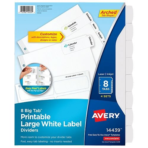 Avery Big Tab Easy Peel 8-Tab Printable Large White Label Dividers 4 sets (AVE-14439) Image 1