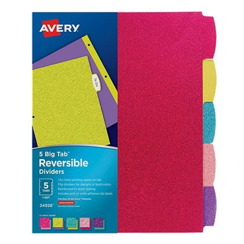 Avery Big Tab Glitter Colored 5-Tab Reversible Fashion Dividers 1 set (AVE-24928) Image 1