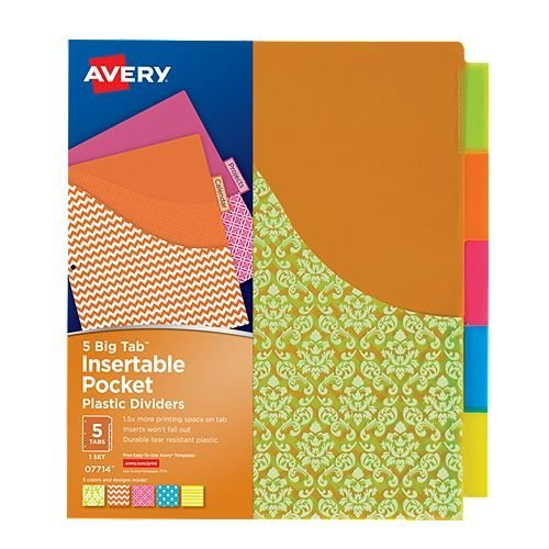 Avery Big Tab Insertable Pocket Multicolor 5-Tab Plastic Dividers (Damask Design) 1 set (AVE-07714) - $2.8 Image 1