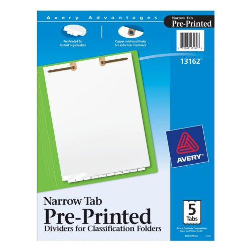 Avery White Narrow Bottom 1-5 Tab Pre-printed Dividers for Classification Folders 1 set (AVE-13162), Index Tab Dividers Image 1