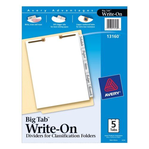 Avery Big Tab White 5-Tab Write-On Dividers for Classification Folders 1 set (AVE-13160) Image 1