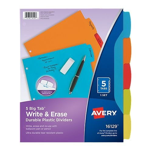 Avery Big Tab Write & Erase Multicolor 5-Tab Plastic Dividers 1 set (AVE-16129) Image 1