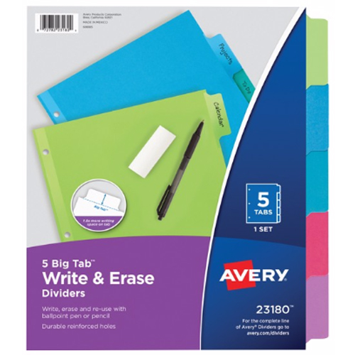 "Avery Big Tab Write-On 8.5"" x 11"" Multicolor 5-Tab Dividers 1 set (AVE-23180), Index Tabs Image 1"