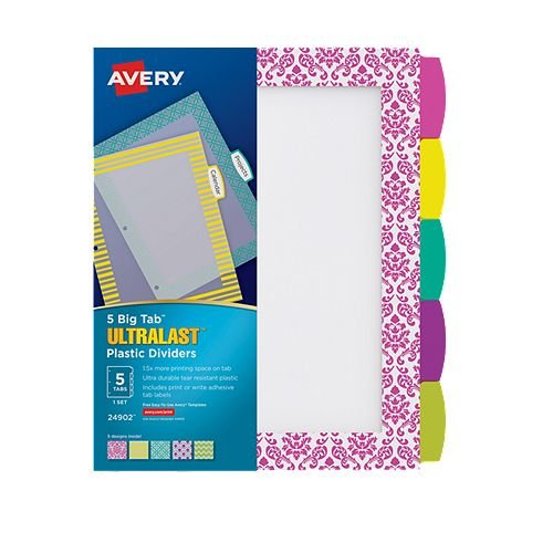 Avery BigTab Ultralast 5-Tab Multicolor Plastic Dividers with Assorted Border Design 1 set (AVE-24902) Image 1