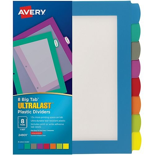 Avery BigTab Ultralast 8-Tab Multicolor Plastic Dividers 1 set (AVE-24901) - $9.1 Image 1