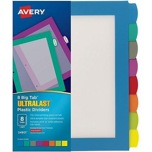Avery BigTab Ultralast 8-Tab Multicolor Plastic Dividers 1 set (AVE-24901) Image 1