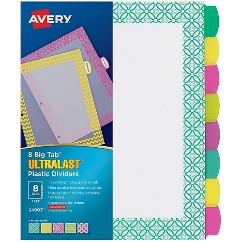 Avery BigTab Ultralast 8-Tab Multicolor Plastic Dividers with Assorted Border Design 1 set (AVE-24903) - $9.1 Image 1