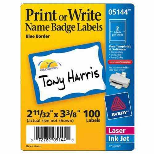 "Avery Blue Border Name Badge Label 2-11/32"" x 3-3/8"" 100pk (AVE-5144) Image 1"