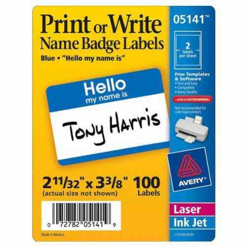 "Avery Blue Hello Name Badge Label 2-11/32"" x 3-3/8"" 100pk (AVE-5141) Image 1"