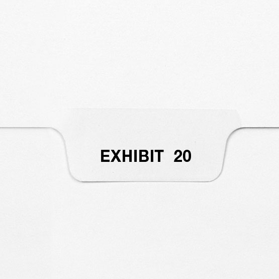 EXHIBIT 20 - Avery Style Letter Size Bottom Tab Legal Indexes - 25pk (HCM35020), Index Dividers Image 1