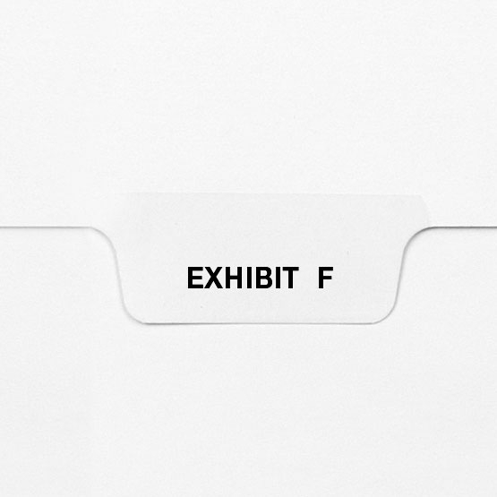 EXHIBIT F - Avery Style Letter Size Bottom Tab Legal Indexes - 25pk (HCM27756) Image 1