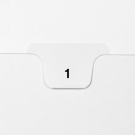 1 - Avery Style Single Number Letter Size Bottom Tab Legal Indexes - 25pk (HCM70001), Index Dividers Image 1