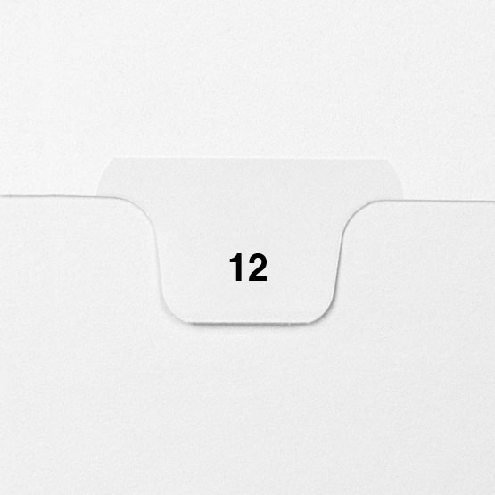 12 - Avery Style Single Number Letter Size Bottom Tab Legal Indexes - 25pk (HCM70012), Index Dividers Image 1