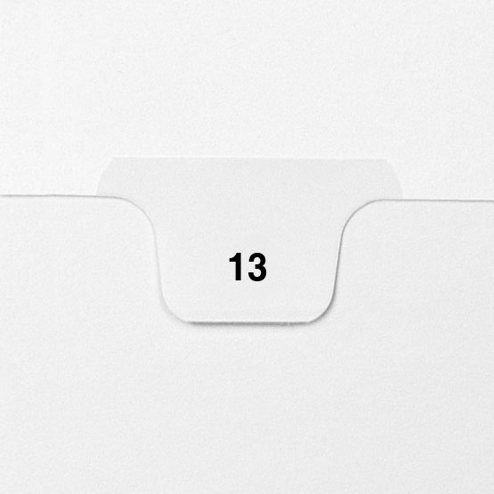 13 - Avery Style Single Number Letter Size Bottom Tab Legal Indexes - 25pk (HCM70013), Index Dividers Image 1