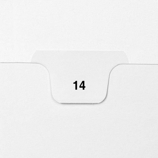 14 - Avery Style Single Number Letter Size Bottom Tab Legal Indexes - 25pk (HCM70014), Index Dividers Image 1