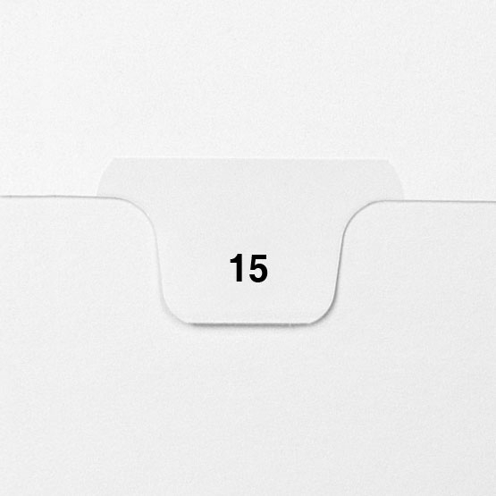 15 - Avery Style Single Number Letter Size Bottom Tab Legal Indexes - 25pk (HCM70015), Index Dividers Image 1