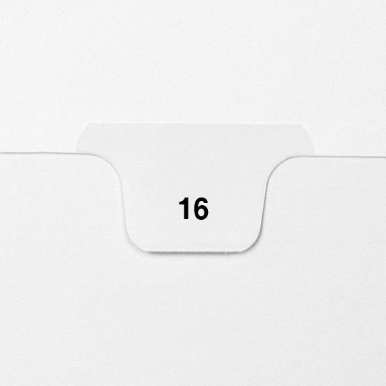 16 - Avery Style Single Number Letter Size Bottom Tab Legal Indexes - 25pk (HCM70016), Index Dividers Image 1