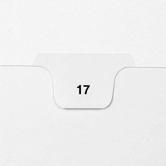 17 - Avery Style Single Number Letter Size Bottom Tab Legal Indexes - 25pk (HCM70017), Index Dividers Image 1