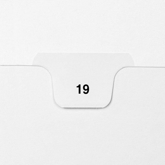 19 - Avery Style Single Number Letter Size Bottom Tab Legal Indexes - 25pk (HCM70019) Image 1