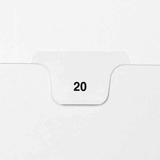 20 - Avery Style Single Number Letter Size Bottom Tab Legal Indexes - 25pk (HCM70020) Image 1