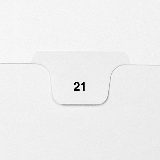 21 - Avery Style Single Number Letter Size Bottom Tab Legal Indexes - 25pk (HCM70021) Image 1