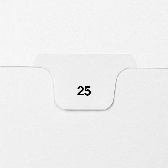 25 - Avery Style Single Number Letter Size Bottom Tab Legal Indexes - 25pk (HCM70025) Image 1