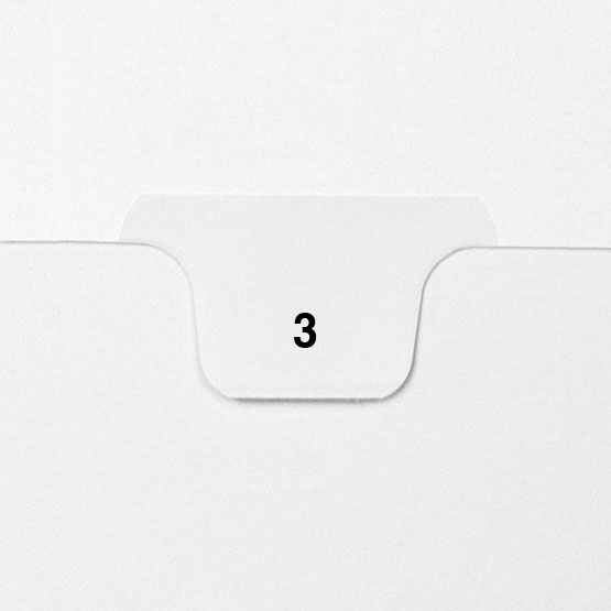 3 - Avery Style Single Number Letter Size Bottom Tab Legal Indexes - 25pk (HCM70003), Index Dividers Image 1