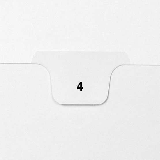 4 - Avery Style Single Number Letter Size Bottom Tab Legal Indexes - 25pk (HCM70004), Index Dividers Image 1