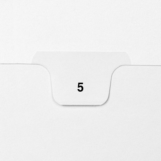 5 - Avery Style Single Number Letter Size Bottom Tab Legal Indexes - 25pk (HCM70005), Index Dividers Image 1