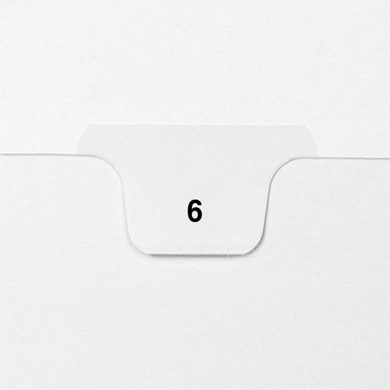 6 - Avery Style Single Number Letter Size Bottom Tab Legal Indexes - 25pk (HCM70006) Image 1