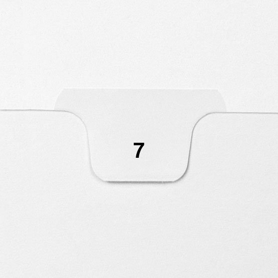7 - Avery Style Single Number Letter Size Bottom Tab Legal Indexes - 25pk (HCM70007), Index Dividers Image 1