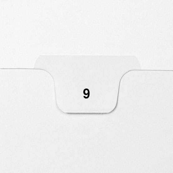 9 - Avery Style Single Number Letter Size Bottom Tab Legal Indexes - 25pk (HCM70009), Index Dividers Image 1
