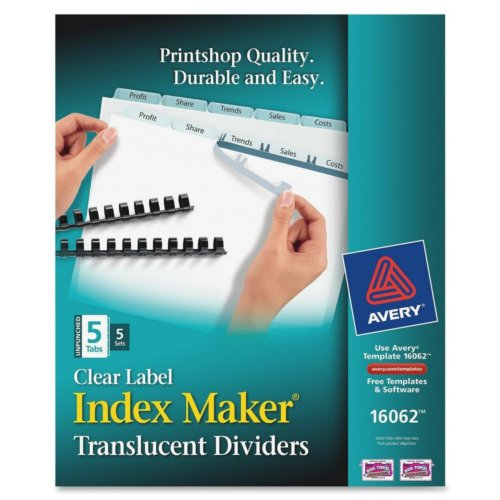 Avery Clear 5-Tab Unpunched Index Maker Plastic Clear Label Dividers 5 sets (AVE-16062) - $24.34 Image 1
