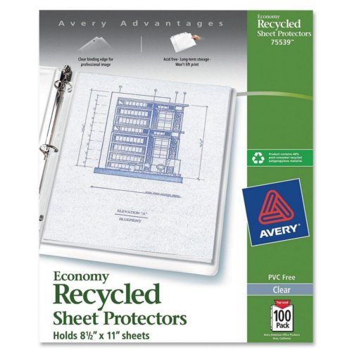 "Avery Clear 8.5"" x 11"" Recycled Economy Weight Top-Load Sheet Protectors 100pk (AVE-75539), Ring Binders Image 1"