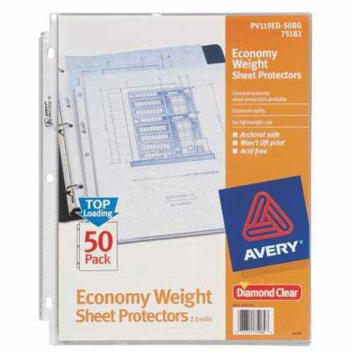 Avery Clear Economy Weight Sheet Protectors 50pk (AVE-75182) Image 1