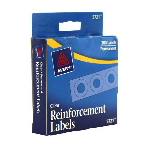 Avery Clear Self-Adhesive Hole Reinforcements (AVESAHRCL) Image 1